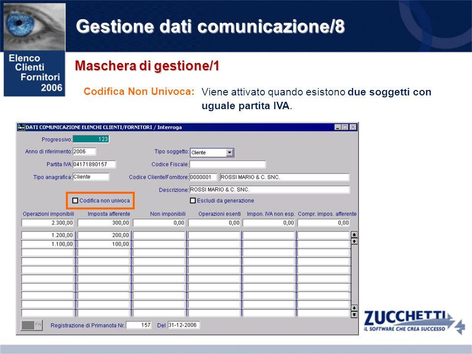 Gestione dati comunicazione/8 Maschera di gestione/1 Codifica Non Univoca: Viene attivato quando esistono due soggetti con uguale partita IVA.