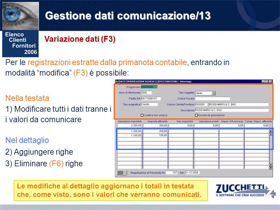 Gestione dati comunicazione/13 Variazione dati (F3) Per le registrazioni estratte dalla primanota contabile, entrando in modalità modifica (F3) è poss