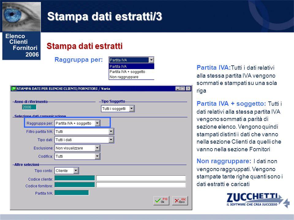 Stampa dati estratti/3 Stampa dati estratti Partita IVA: Tutti i dati relativi alla stessa partita IVA vengono sommati e stampati su una sola riga Rag