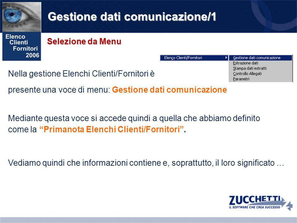 Gestione dati comunicazione/1 Selezione da Menu Nella gestione Elenchi Clienti/Fornitori è presente una voce di menu: Gestione dati comunicazione Medi