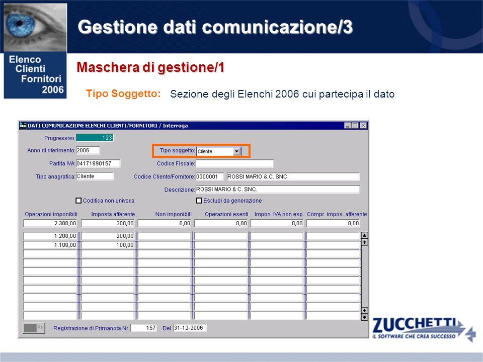Gestione dati comunicazione/3 Maschera di gestione/1 Tipo Soggetto: Sezione degli Elenchi 2006 cui partecipa il dato