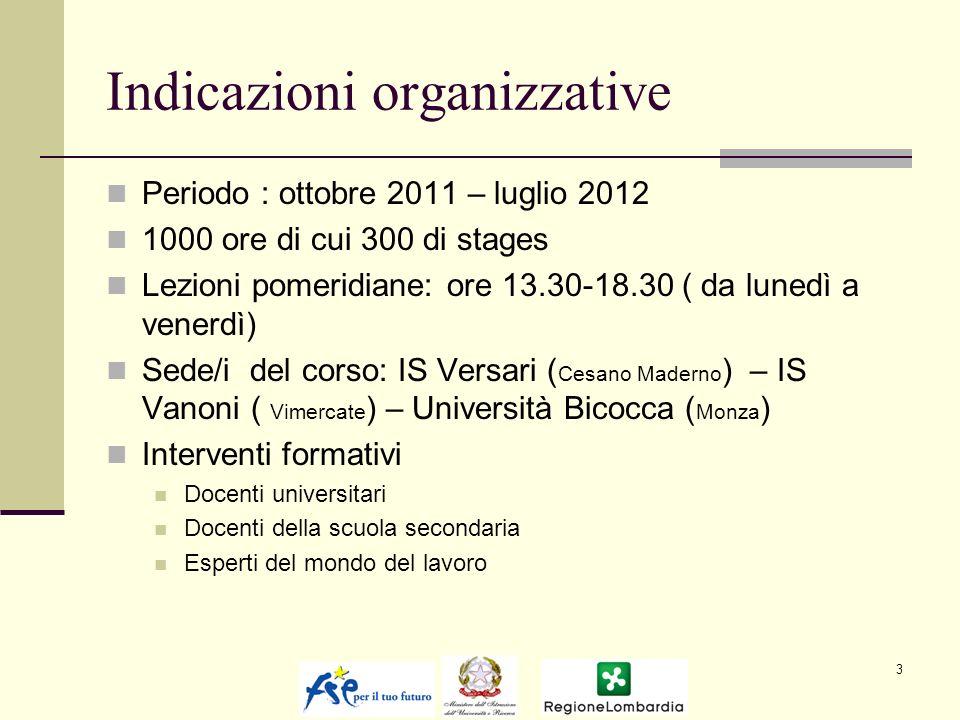 Indicazioni organizzative Periodo : ottobre 2011 – luglio 2012 1000 ore di cui 300 di stages Lezioni pomeridiane: ore 13.30-18.30 ( da lunedì a venerd