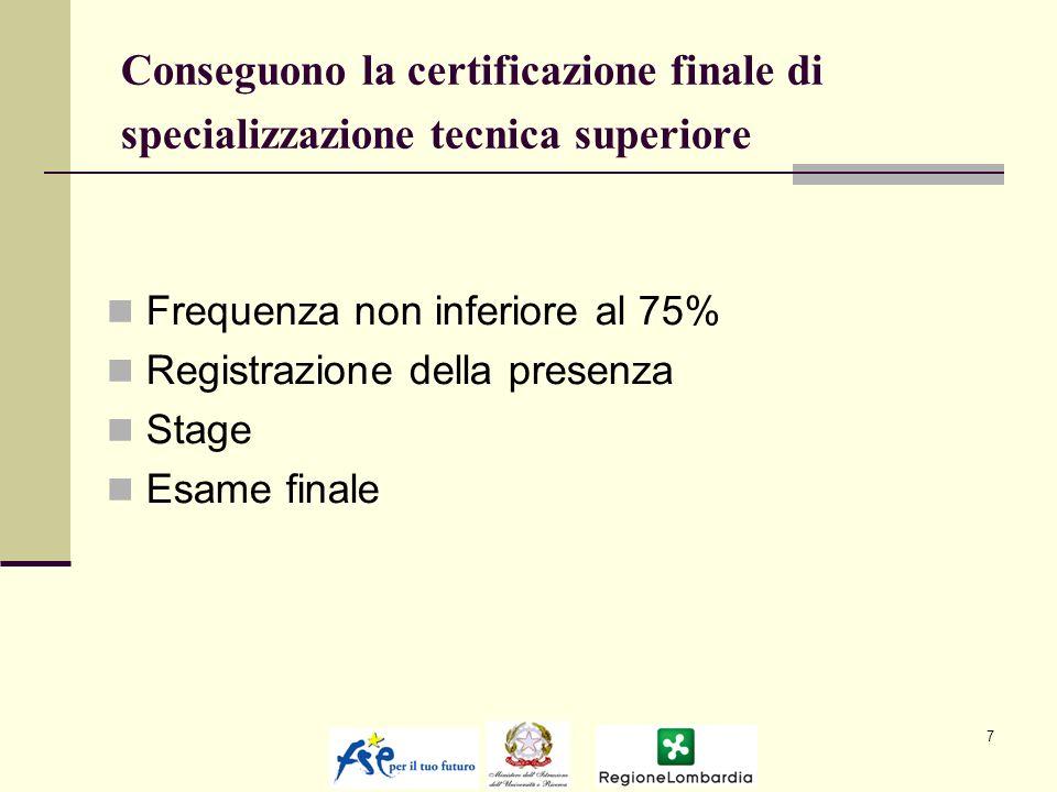 Conseguono la certificazione finale di specializzazione tecnica superiore Frequenza non inferiore al 75% Registrazione della presenza Stage Esame finale 7