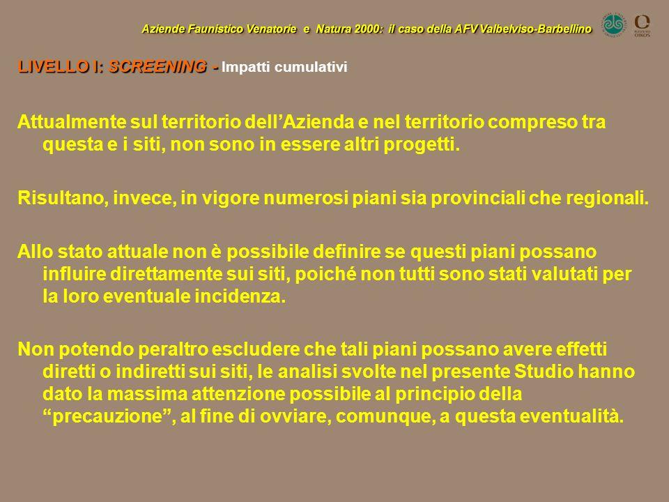 Aziende Faunistico Venatorie e Natura 2000: il caso della AFV Valbelviso-Barbellino LIVELLO I: SCREENING - LIVELLO I: SCREENING - Impatti cumulativi A