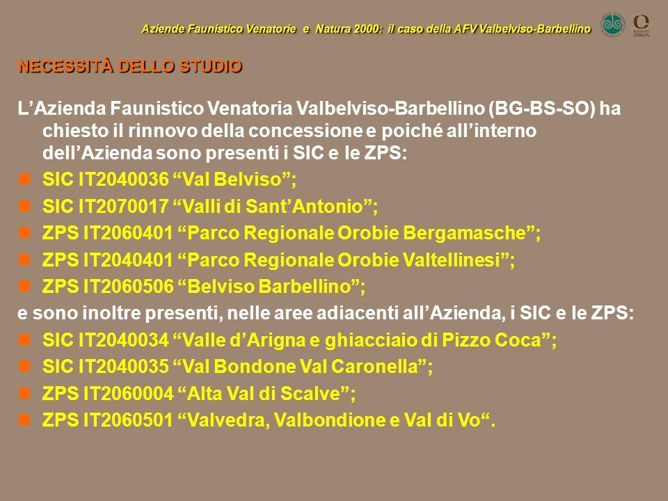 LAzienda Faunistico Venatoria Valbelviso-Barbellino (BG-BS-SO) ha chiesto il rinnovo della concessione e poiché allinterno dellAzienda sono presenti i