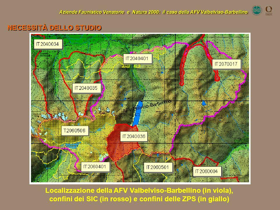Aziende Faunistico Venatorie e Natura 2000: il caso della AFV Valbelviso-Barbellino Localizzazione della AFV Valbelviso-Barbellino (in viola), confini
