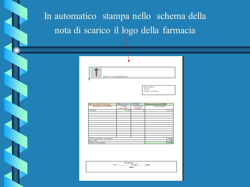 In automatico stampa nello schema della nota di scarico il logo della farmacia