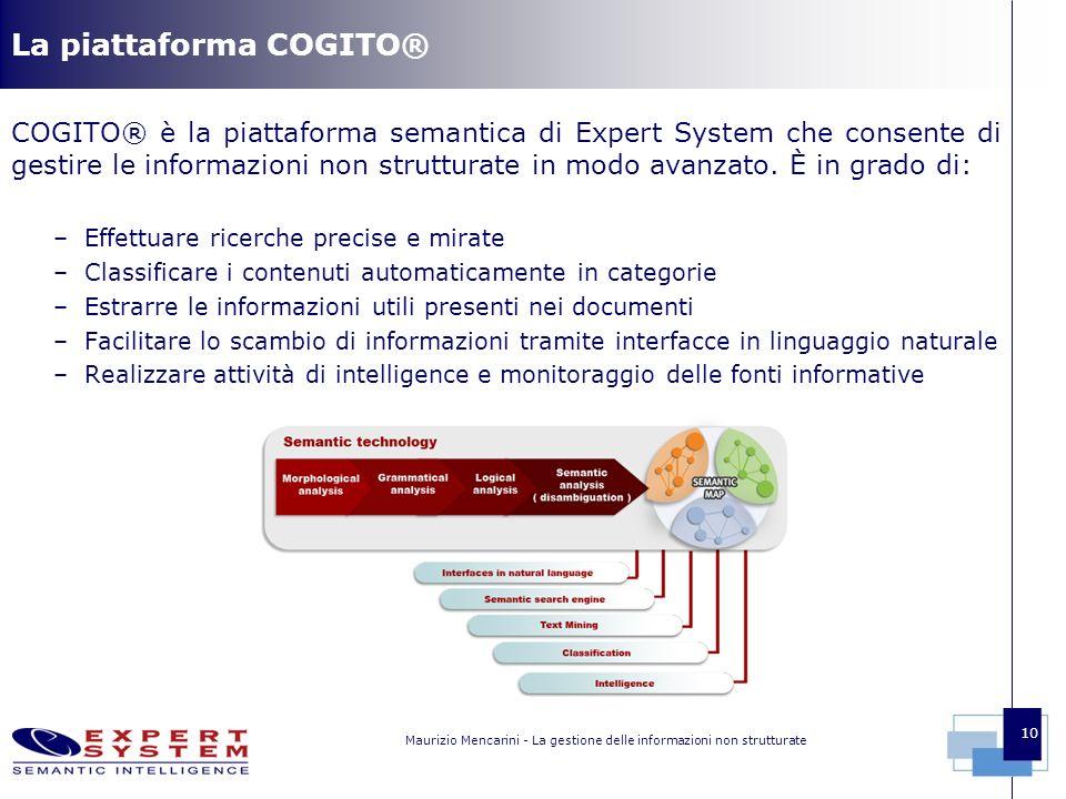 Maurizio Mencarini - La gestione delle informazioni non strutturate 10 La piattaforma COGITO® COGITO® è la piattaforma semantica di Expert System che consente di gestire le informazioni non strutturate in modo avanzato.