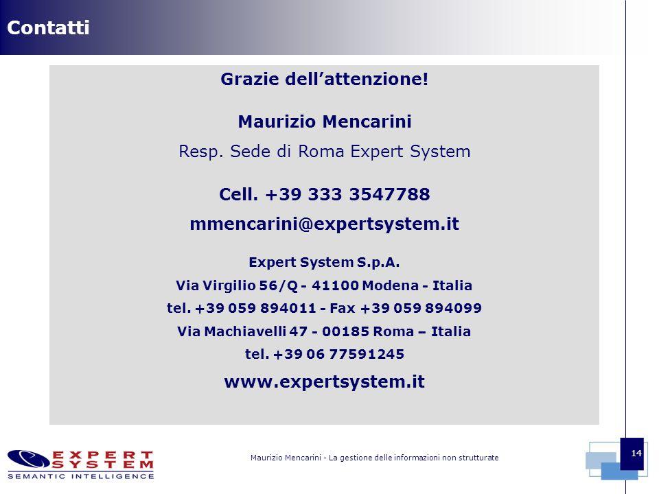 Maurizio Mencarini - La gestione delle informazioni non strutturate 14 Contatti Grazie dellattenzione.