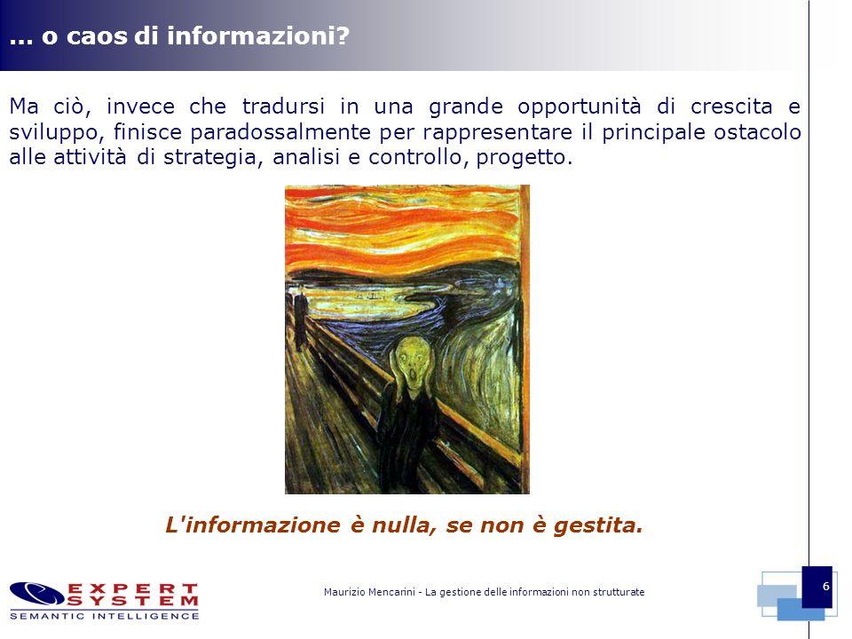 Maurizio Mencarini - La gestione delle informazioni non strutturate 6 … o caos di informazioni.
