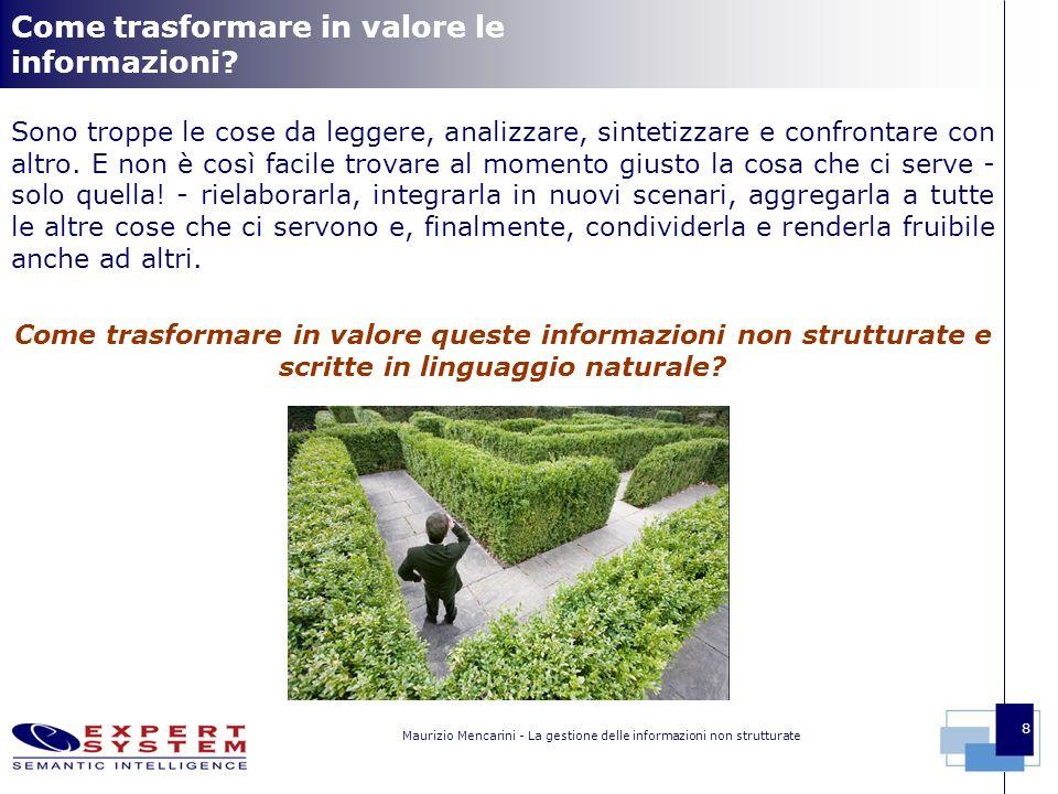 Maurizio Mencarini - La gestione delle informazioni non strutturate 8 Come trasformare in valore le informazioni.