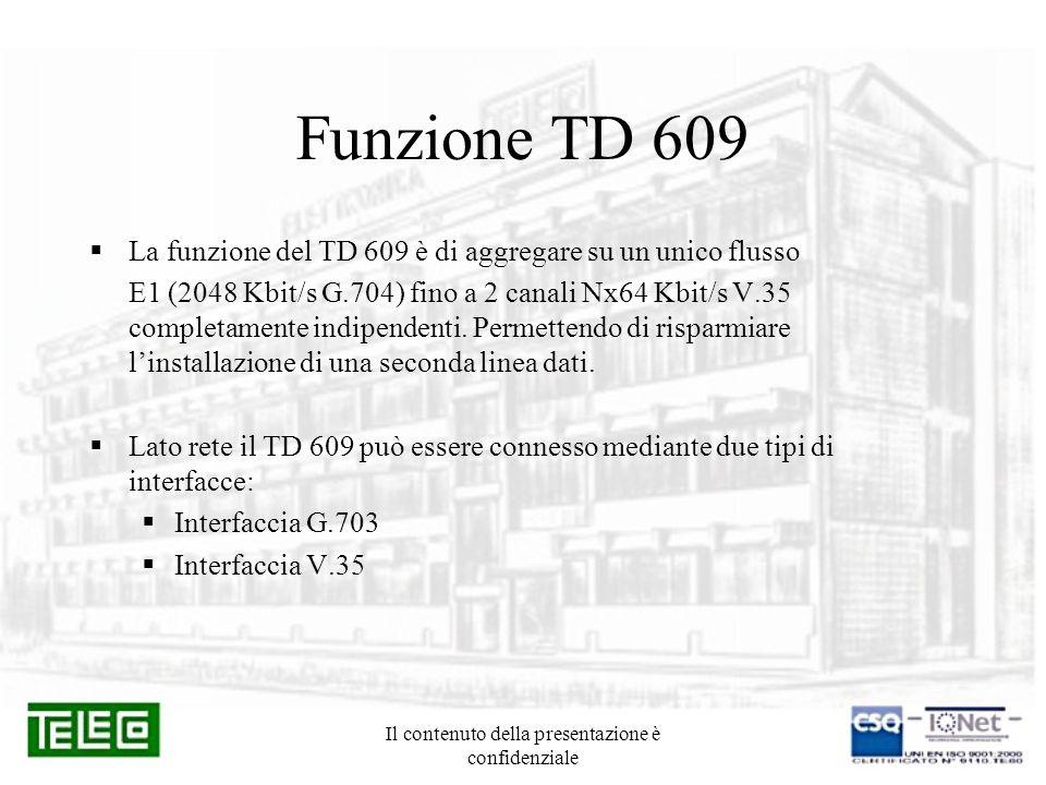 Il contenuto della presentazione è confidenziale Utilizzo in rete Possibili utilizzatori: Gestori di reti Rete MUX TD604T ROUTER TD604T DTE TD609 TD604T TD609 ROUTER