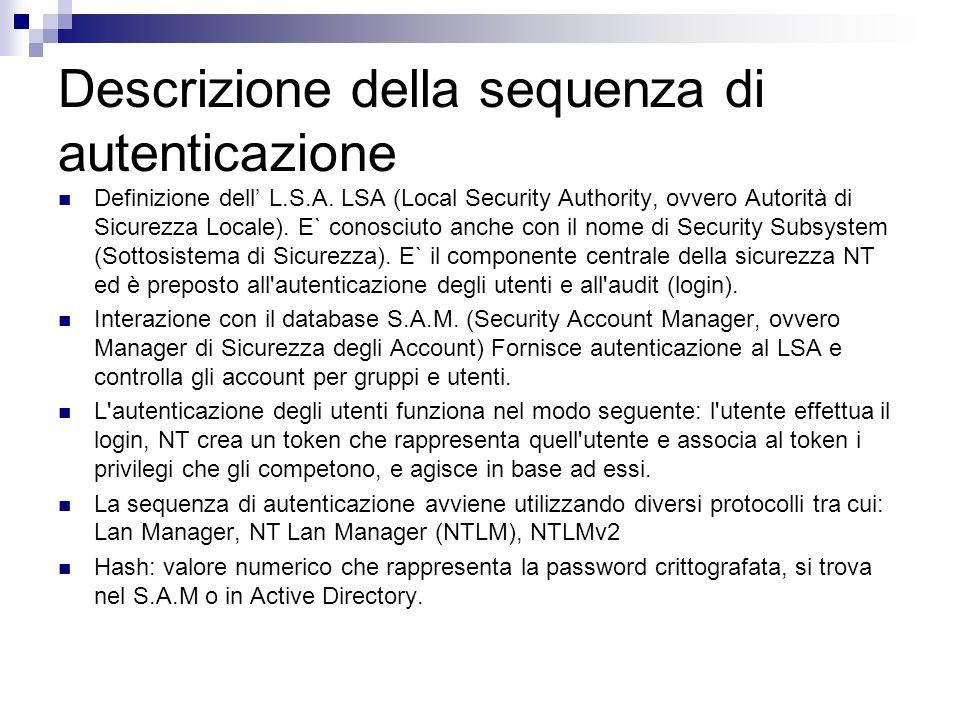 Descrizione della sequenza di autenticazione Definizione dell L.S.A. LSA (Local Security Authority, ovvero Autorità di Sicurezza Locale). E` conosciut