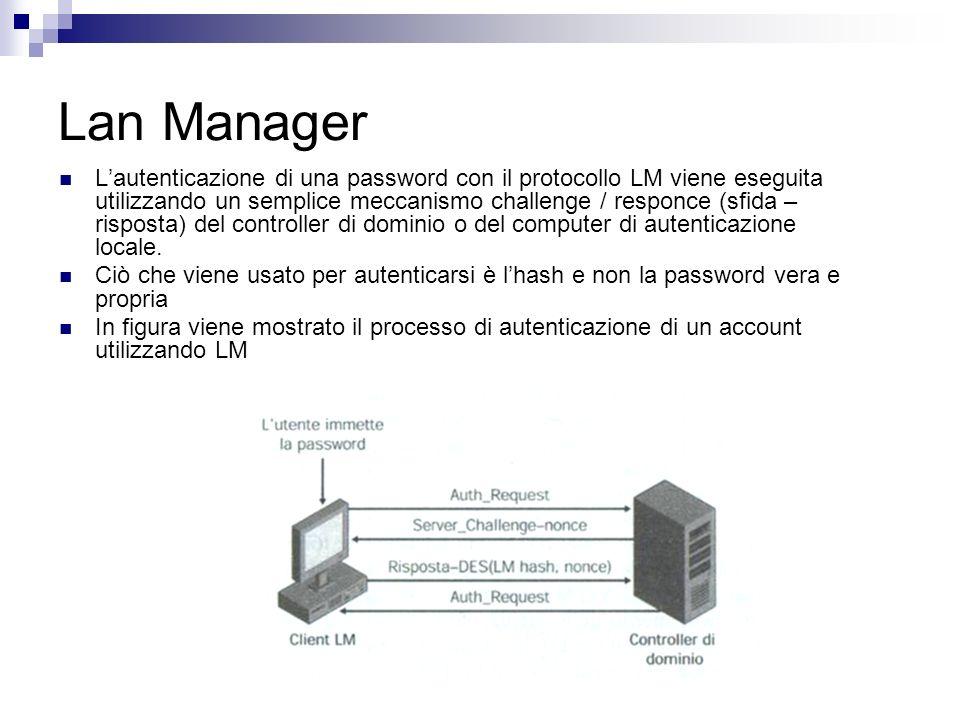 Lautenticazione di una password con il protocollo LM viene eseguita utilizzando un semplice meccanismo challenge / responce (sfida – risposta) del con