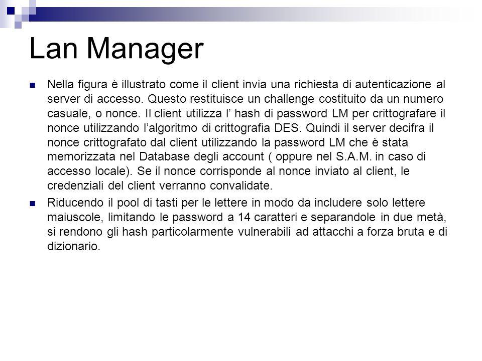 Lan Manager Nella figura è illustrato come il client invia una richiesta di autenticazione al server di accesso. Questo restituisce un challenge costi