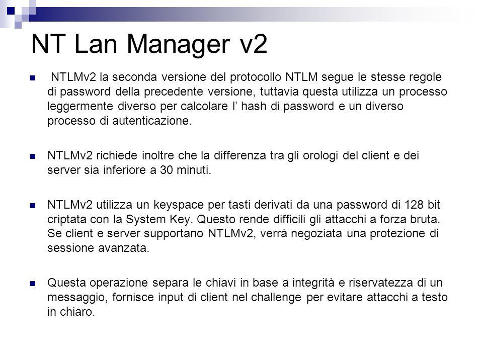 NT Lan Manager v2 NTLMv2 la seconda versione del protocollo NTLM segue le stesse regole di password della precedente versione, tuttavia questa utilizz