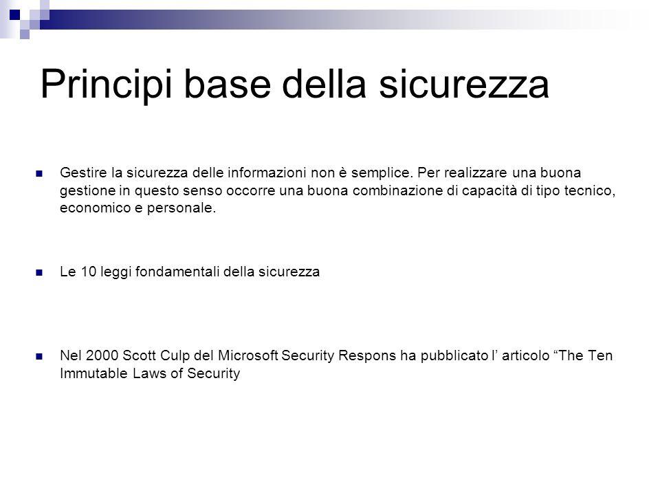 Principi base della sicurezza Gestire la sicurezza delle informazioni non è semplice. Per realizzare una buona gestione in questo senso occorre una bu