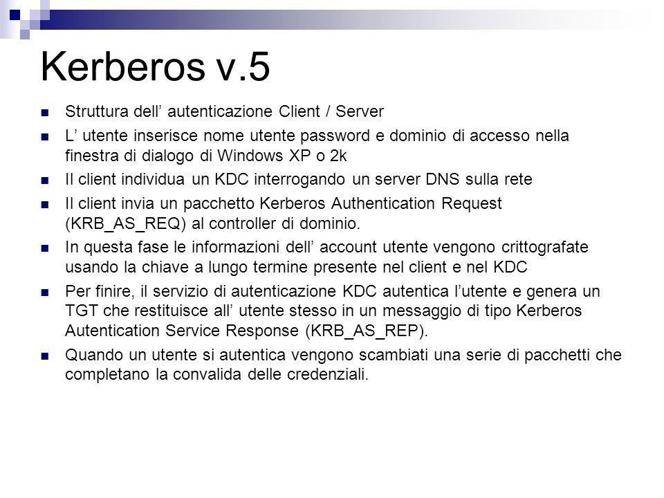 Kerberos v.5 Struttura dell autenticazione Client / Server L utente inserisce nome utente password e dominio di accesso nella finestra di dialogo di W