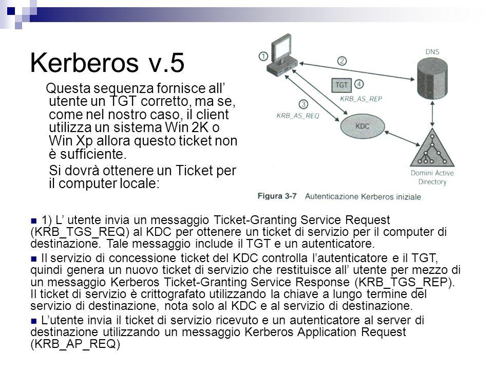 Kerberos v.5 Questa sequenza fornisce all utente un TGT corretto, ma se, come nel nostro caso, il client utilizza un sistema Win 2K o Win Xp allora qu