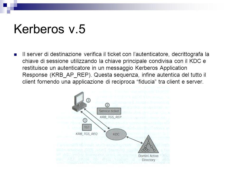 Kerberos v.5 Il server di destinazione verifica il ticket con lautenticatore, decrittografa la chiave di sessione utilizzando la chiave principale con