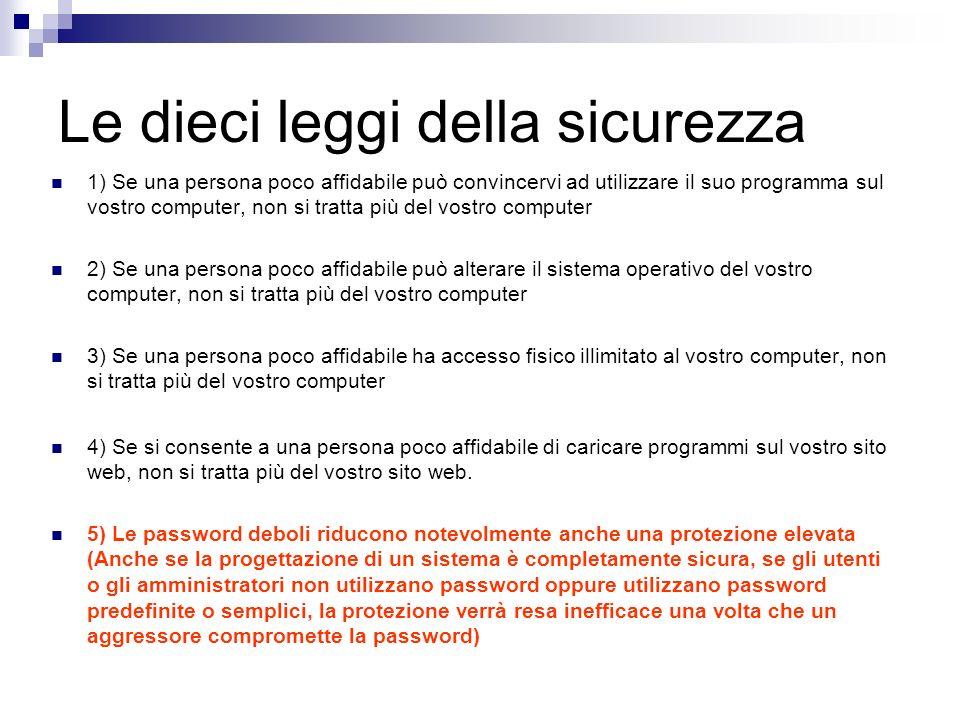 Le dieci leggi della sicurezza 1) Se una persona poco affidabile può convincervi ad utilizzare il suo programma sul vostro computer, non si tratta più