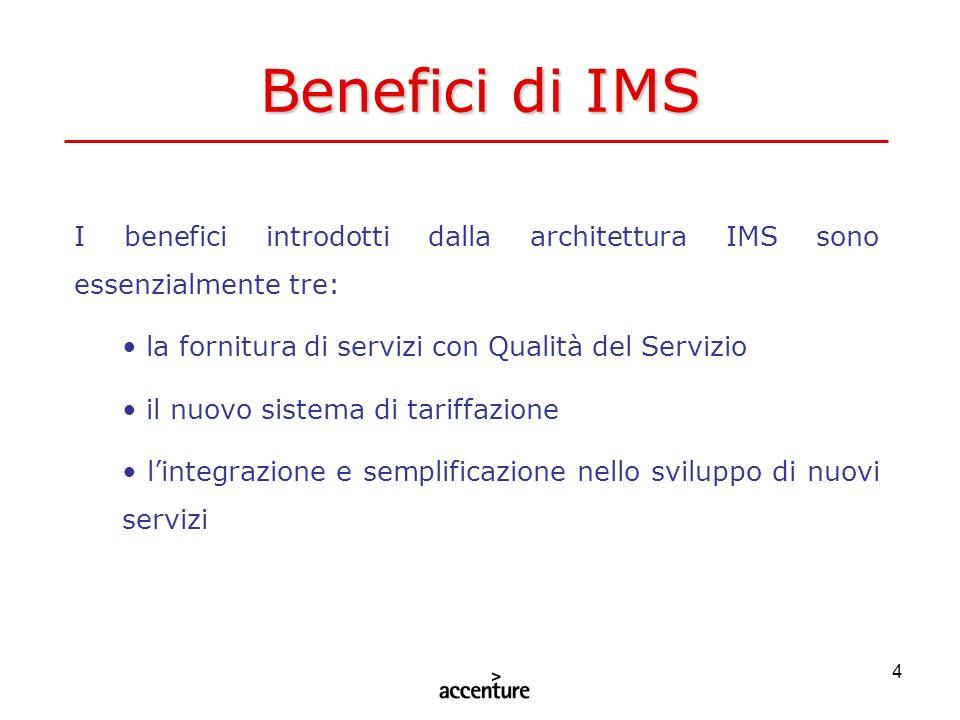 4 Benefici di IMS I benefici introdotti dalla architettura IMS sono essenzialmente tre: la fornitura di servizi con Qualità del Servizio il nuovo sist