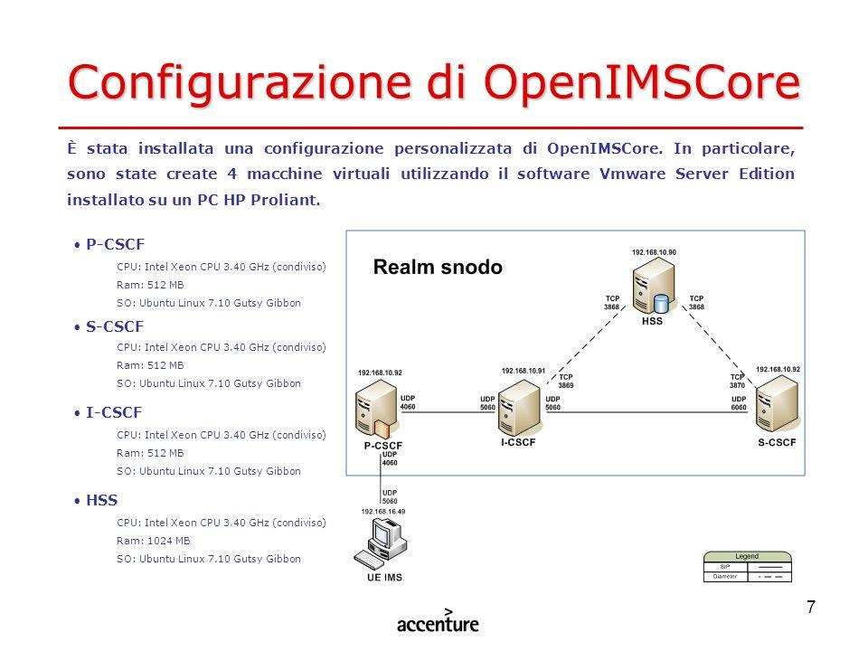 7 Configurazione di OpenIMSCore È stata installata una configurazione personalizzata di OpenIMSCore. In particolare, sono state create 4 macchine virt