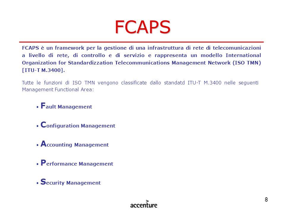 8 FCAPS FCAPS è un framework per la gestione di una infrastruttura di rete di telecomunicazioni a livello di rete, di controllo e di servizio e rappre