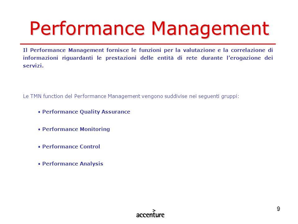 9 Performance Management Il Performance Management fornisce le funzioni per la valutazione e la correlazione di informazioni riguardanti le prestazion