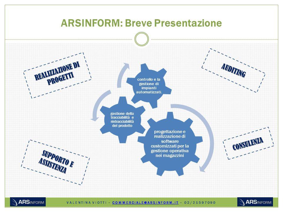 ARSINFORM: Breve Presentazione progettazione e realizzazione di software customizzati per la gestione operativa nei magazzini gestione della tracciabilità e rintracciabilità del prodotto controllo e la gestione di impianti automatizzati.