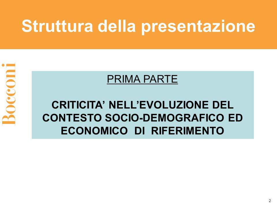 Struttura della presentazione 2 PRIMA PARTE CRITICITA NELLEVOLUZIONE DEL CONTESTO SOCIO-DEMOGRAFICO ED ECONOMICO DI RIFERIMENTO