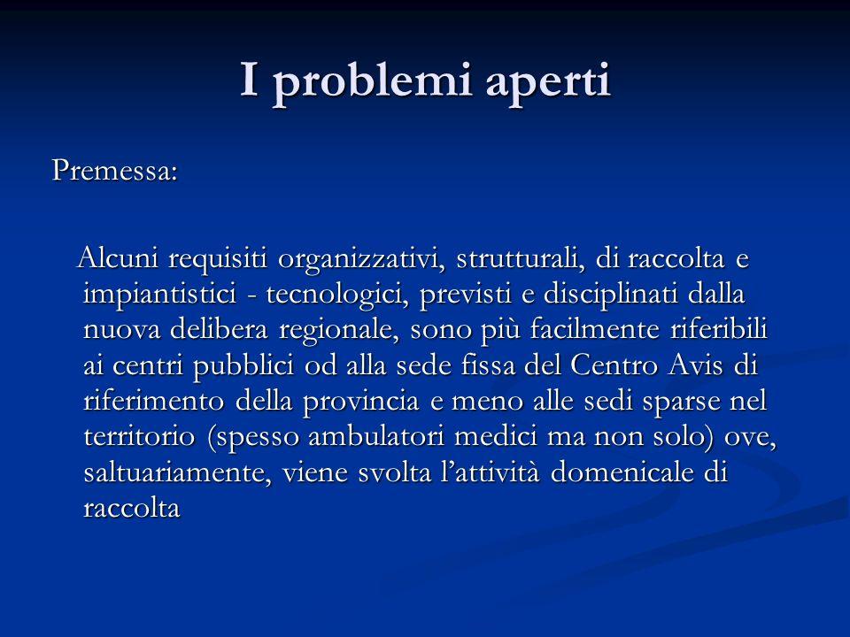 I problemi aperti Premessa: Alcuni requisiti organizzativi, strutturali, di raccolta e impiantistici - tecnologici, previsti e disciplinati dalla nuov