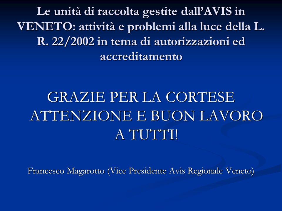 Le unità di raccolta gestite dallAVIS in VENETO: attività e problemi alla luce della L. R. 22/2002 in tema di autorizzazioni ed accreditamento GRAZIE