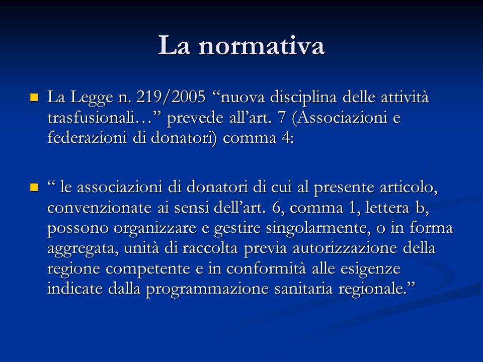 La normativa La Legge n. 219/2005 nuova disciplina delle attività trasfusionali… prevede allart. 7 (Associazioni e federazioni di donatori) comma 4: L