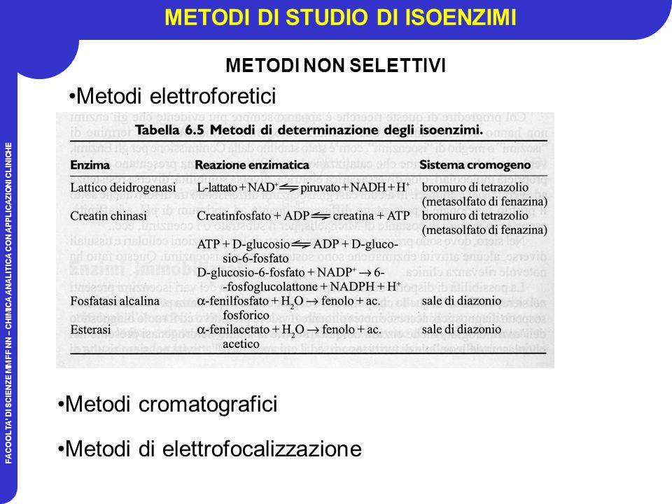 FACOOLTA DI SCIENZE MM FF NN – CHIMICA ANALITICA CON APPLICAZIONI CLINICHE METODI DI STUDIO DI ISOENZIMI Metodi elettroforetici Metodi cromatografici Metodi di elettrofocalizzazione METODI NON SELETTIVI