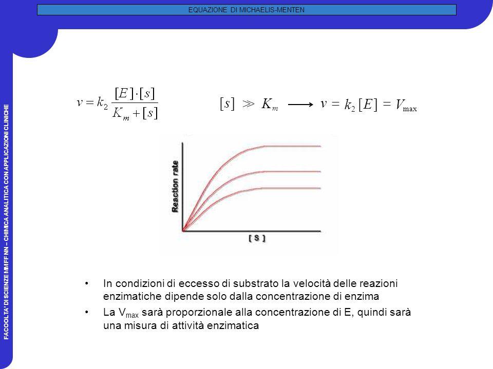 FACOOLTA DI SCIENZE MM FF NN – CHIMICA ANALITICA CON APPLICAZIONI CLINICHE EQUAZIONE DI MICHAELIS-MENTEN In condizioni di eccesso di substrato la velocità delle reazioni enzimatiche dipende solo dalla concentrazione di enzima La V max sarà proporzionale alla concentrazione di E, quindi sarà una misura di attività enzimatica ][s K m >> ][ 2 E k v max V