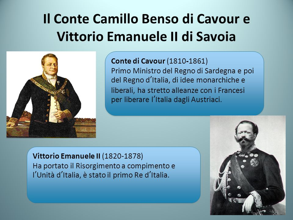 Il Conte Camillo Benso di Cavour e Vittorio Emanuele II di Savoia Conte di Cavour (1810-1861) Primo Ministro del Regno di Sardegna e poi del Regno dItalia, di idee monarchiche e liberali, ha stretto alleanze con i Francesi per liberare lItalia dagli Austriaci.