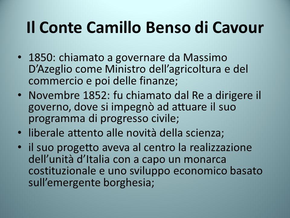 Il Conte Camillo Benso di Cavour 1850: chiamato a governare da Massimo DAzeglio come Ministro dellagricoltura e del commercio e poi delle finanze; Nov