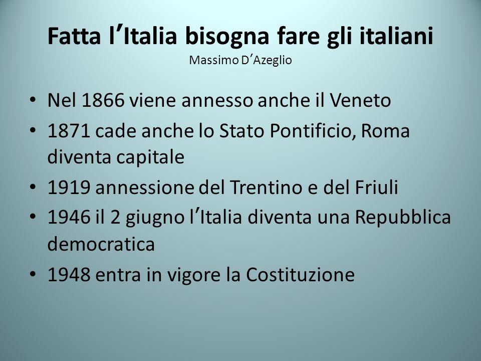 Fatta lItalia bisogna fare gli italiani Massimo DAzeglio Nel 1866 viene annesso anche il Veneto 1871 cade anche lo Stato Pontificio, Roma diventa capitale 1919 annessione del Trentino e del Friuli 1946 il 2 giugno lItalia diventa una Repubblica democratica 1948 entra in vigore la Costituzione