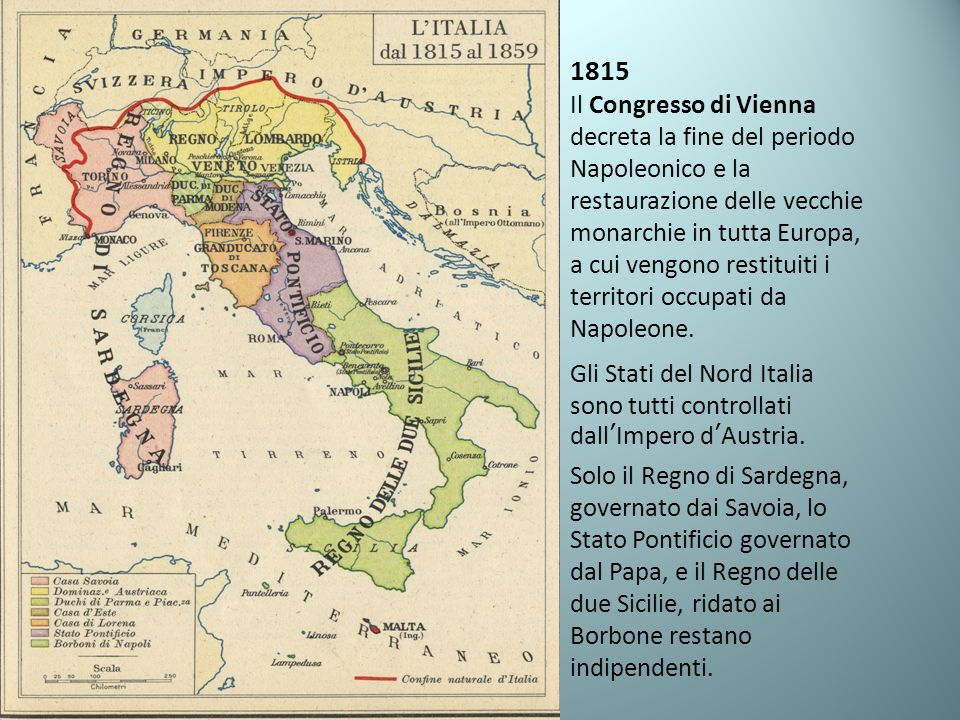 1815 Il Congresso di Vienna decreta la fine del periodo Napoleonico e la restaurazione delle vecchie monarchie in tutta Europa, a cui vengono restituiti i territori occupati da Napoleone.