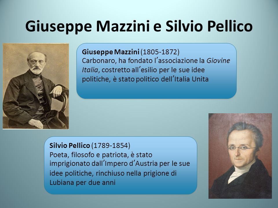 Giuseppe Mazzini e Silvio Pellico Giuseppe Mazzini (1805-1872) Carbonaro, ha fondato lassociazione la Giovine Italia, costretto allesilio per le sue idee politiche, è stato politico dellItalia Unita Giuseppe Mazzini (1805-1872) Carbonaro, ha fondato lassociazione la Giovine Italia, costretto allesilio per le sue idee politiche, è stato politico dellItalia Unita Silvio Pellico (1789-1854) Poeta, filosofo e patriota, è stato imprigionato dallImpero dAustria per le sue idee politiche, rinchiuso nella prigione di Lubiana per due anni Silvio Pellico (1789-1854) Poeta, filosofo e patriota, è stato imprigionato dallImpero dAustria per le sue idee politiche, rinchiuso nella prigione di Lubiana per due anni