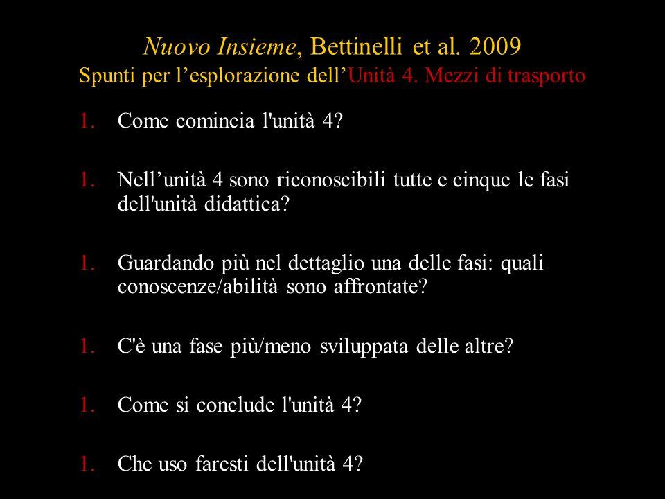 Nuovo Insieme, Bettinelli et al. 2009 Spunti per lesplorazione dellUnità 4. Mezzi di trasporto 1.Come comincia l'unità 4? 1.Nellunità 4 sono riconosci
