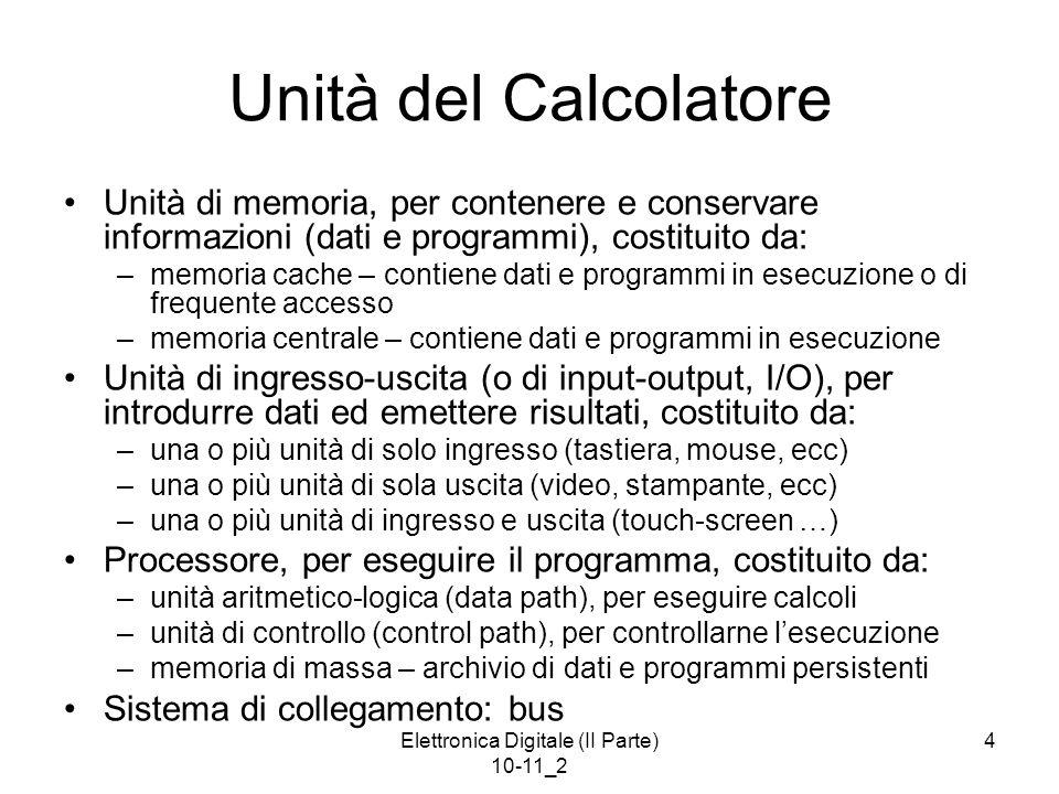 Elettronica Digitale (II Parte) 10-11_2 15 Ingresso e Uscita Il calcolatore dispone di un complesso di unità funzionali per scambiare informazioni (dati e anche programmi) con le unità di periferia (o periferiche).