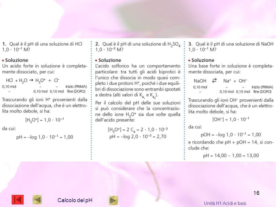 16 Calcolo del pH Unità H1 Acidi e basi