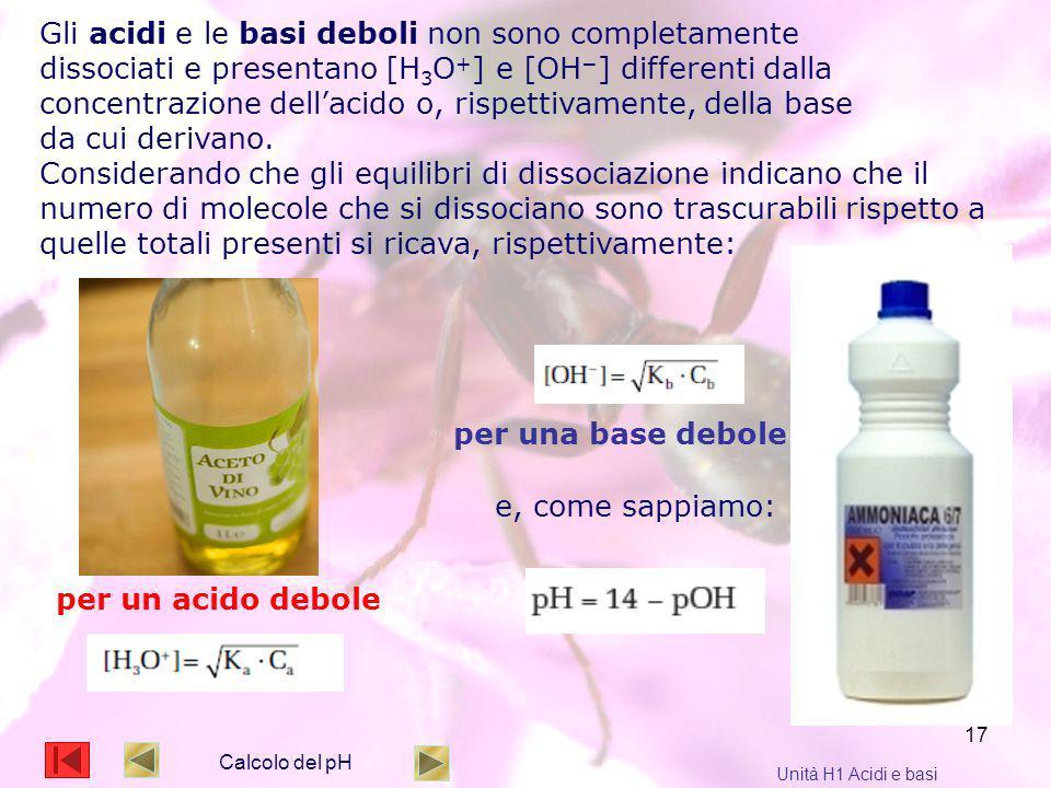 17 Calcolo del pH Unità H1 Acidi e basi Gli acidi e le basi deboli non sono completamente dissociati e presentano [H 3 O + ] e [OH ] differenti dalla