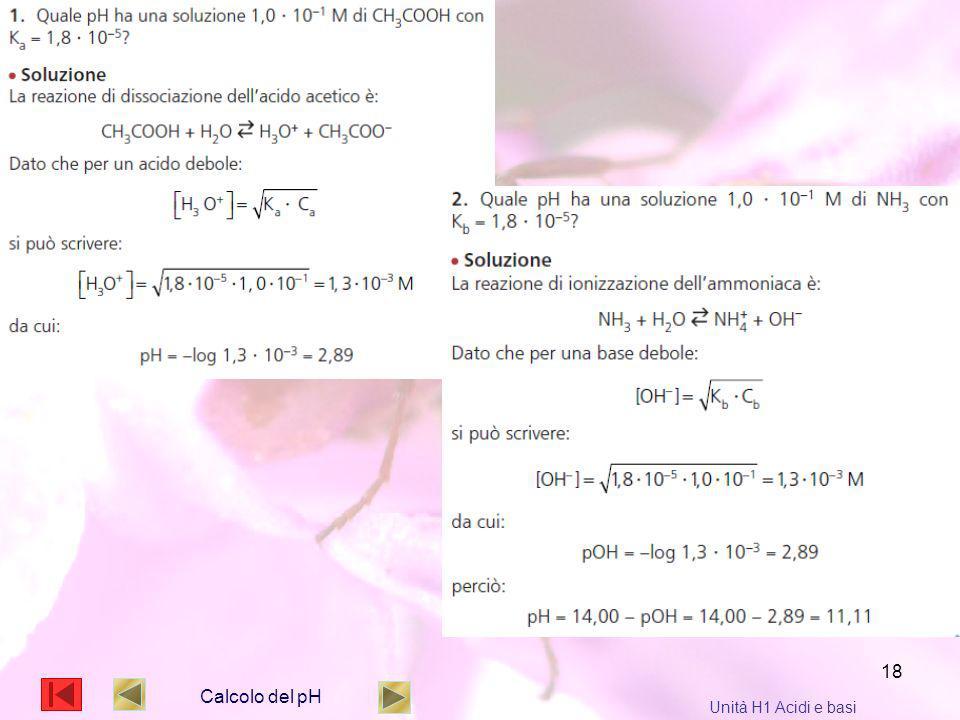18 Calcolo del pH Unità H1 Acidi e basi