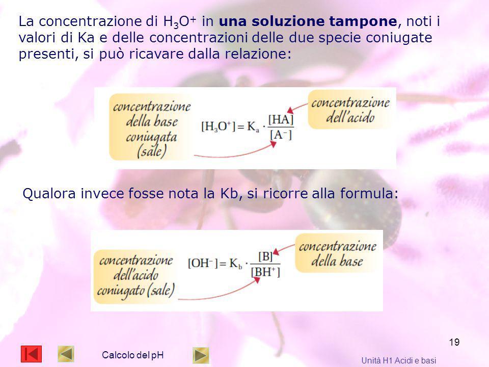 19 Calcolo del pH Unità H1 Acidi e basi La concentrazione di H 3 O + in una soluzione tampone, noti i valori di Ka e delle concentrazioni delle due sp