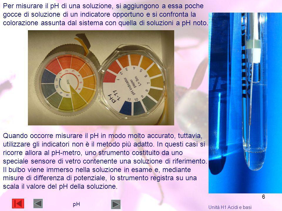 6 Per misurare il pH di una soluzione, si aggiungono a essa poche gocce di soluzione di un indicatore opportuno e si confronta la colorazione assunta