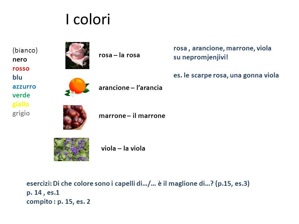 I colori (bianco) nero rosso blu azzurro verde giallo grigio rosa – la rosa arancione – larancia marrone – il marrone viola – la viola rosa, arancione, marrone, viola su nepromjenjivi.