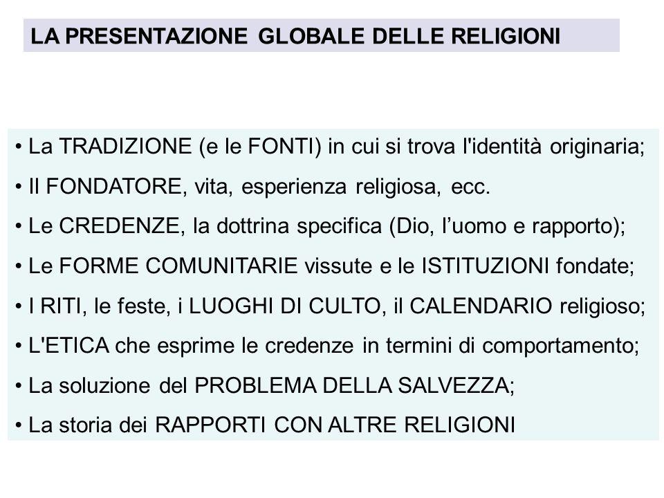LA PRESENTAZIONE GLOBALE DELLE RELIGIONI La TRADIZIONE (e le FONTI) in cui si trova l'identità originaria; Il FONDATORE, vita, esperienza religiosa, e
